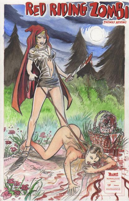 Daniel Haas Red Riding Zombi Original Blank Sketch Cover
